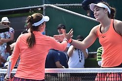 January 7, 2017 - Auckland, Auckland, New Zealand - Lauren Davis of USA shakes hands with Ana Konjuh of Croatia after their  single final match at the WTA ASB Classic tennis tournament in Auckland, New Zealand on Jan 7.Lauren Davis  claims the champion title after a 6-3 6-1 victory over Ana Konjuh. (Credit Image: © Shirley Kwok/Pacific Press via ZUMA Wire)