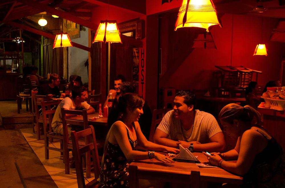 Restaurant nightlife in Montañita, Ecuador.