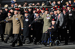Veterans parade during the annual Remembrance Sunday Service at the Cenotaph memorial in Whitehall, central London, held in tribute for members of the armed forces who have died in major conflicts.