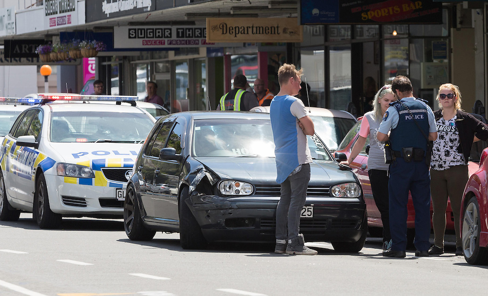 Police were called to an incident in Hastings Street, after a car aledgelly drove into another, with one driver locking himself in his car, Napier, New Zealand, Sunday, October 18, 2015. Credit:SNPA
