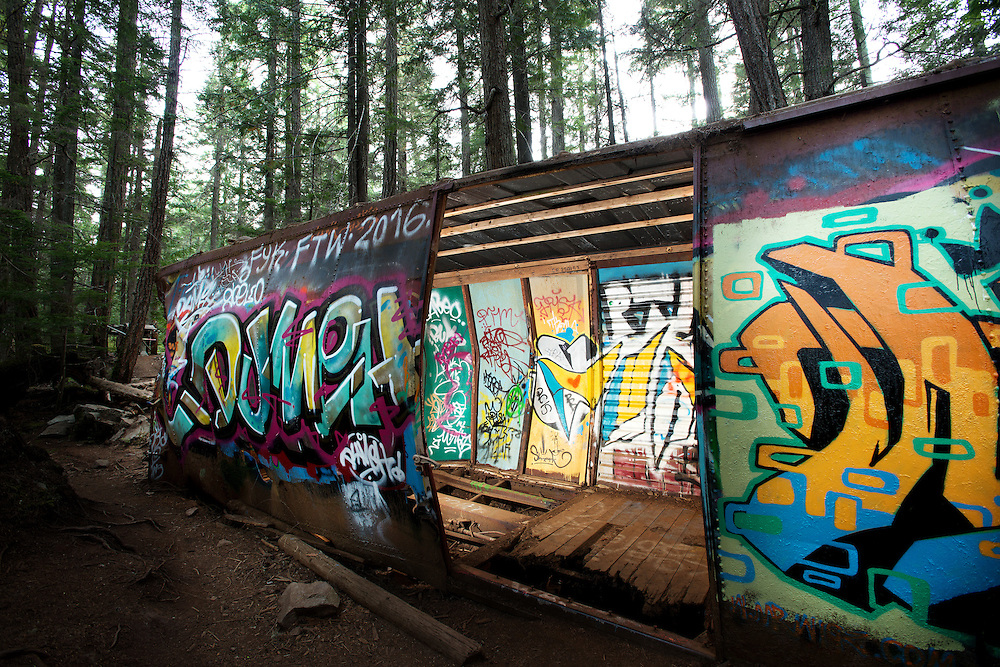 The Train Wreck trail.  The wrecked box cars left over from a 1950's PGE railway derailment, now a popular spot for local graffiti artists.  Thursday, Aug 18, 2016.  <br /> <br /> Photo:  David Buzzard