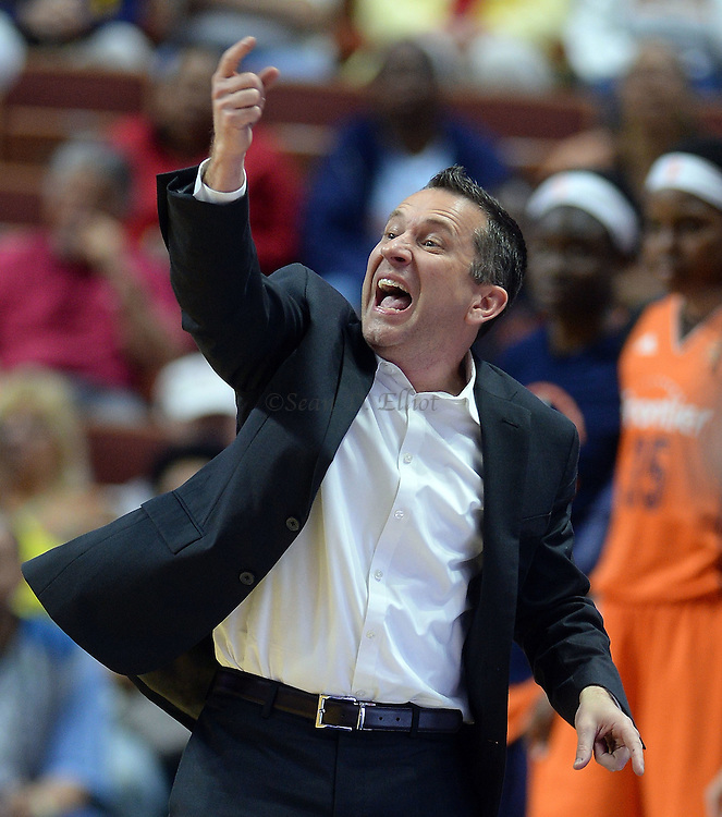 7/7/16 :: SPORTS :: GRIFFEN :: Connecticut head coach Curt Miller shouts instructions to his team as they play Minnesota in WNBA action Thursday, July 7, 2016 at Mohegan Sun Arena. The Sun came back to take a 93-89 overtime win over the defending WNBA champion Lynx. (Sean D. Elliot/The Day)