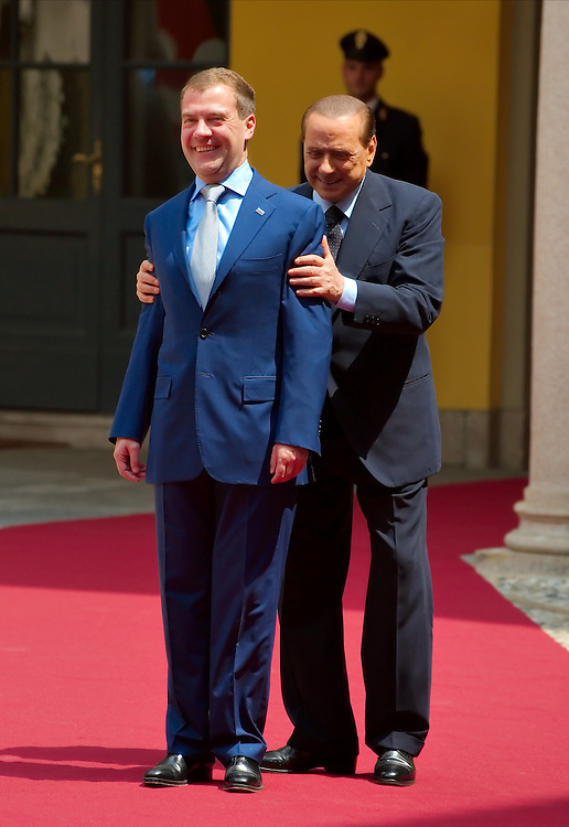 MILAN, ITALY - JULY 23:  &nbsp; Italian Prime Minister Silvio Berlusconi swap place with Russian President Dimitry Medvedev during the welcoming at Palazzo della Provincia on July 23, 2010 in Milan, Italy. Italian Prime Minister Berlusconi and Russian President Medvedev will discuss issues related to Russia's relations with NATO and the EU, energy security, and the development of bilateral trade and economic relations. .***Agreed Fee's Apply To All Image Use***.Marco Secchi /Xianpix. tel +44 (0) 207 1939846. e-mail ms@msecchi.com .<br />  www.marcosecchi.com
