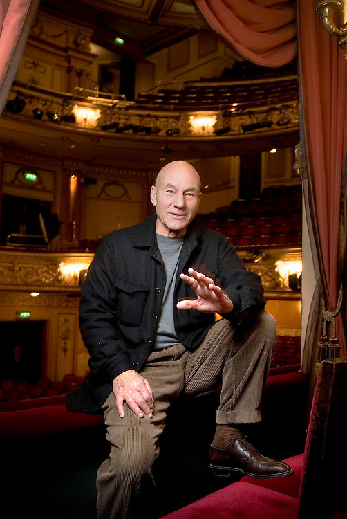 United Kingdom. London. Actor Patrick Stewart at The Gielgud Theatre, Shaftesbury Avenue in London's West End.<br /> Photo shows Patrick Stewart in The Royal Box.