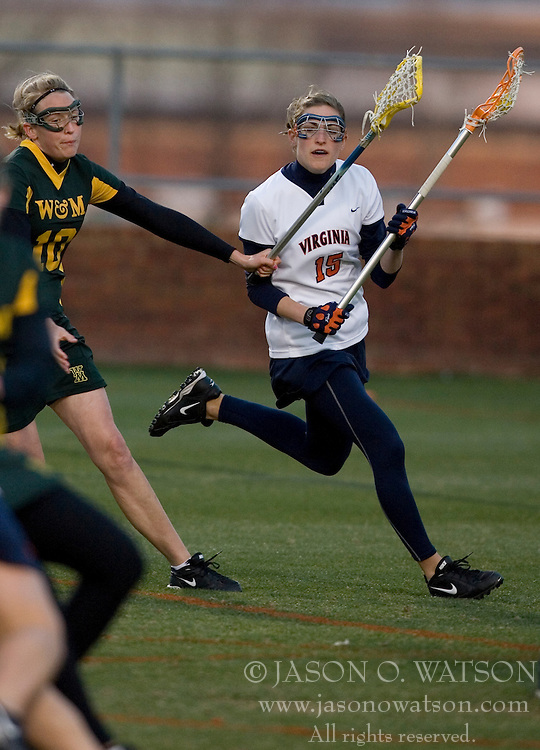 Virginia Cavaliers A Megan Havrilla (15) in action against W&M.  The Virginia Cavaliers Women's Lacrosse team hosted the William and Mary Tribe at Kl?ckner Stadium in Charlottesville, VA on March 21, 2007.