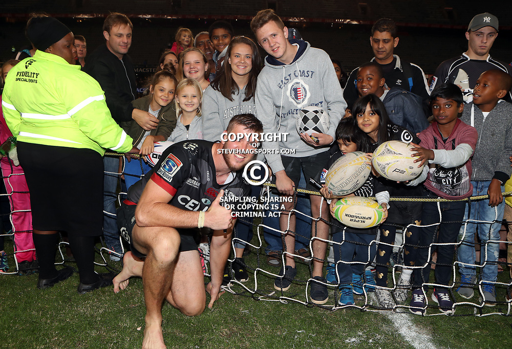 DURBAN, SOUTH AFRICA - MAY 27: Stephan Lewies of the Cell C Sharks with fans during the Super Rugby match between Cell C Sharks and DHL Stormers at Growthpoint Kings Park on May 27, 2017 in Durban, South Africa. (Photo by Steve Haag/Gallo Images)