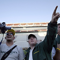 Oregon Ducks football team in Oklahoma for game against against the Sooners.Players and staff arrive at OU stadium for the first time for Friday walkthrough.