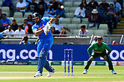 Rohit Sharma of India plays an attacking shot during the ICC Cricket World Cup 2019 match between Bangladesh and India at Edgbaston, Birmingham, United Kingdom on 2 July 2019.