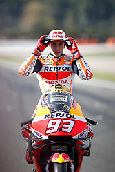 November 17, 2019, Cheste, VALENCIA, SPAIN: Marc Marquez, rider of Repsol Honda Team from Spain, looks on attends during the World Champion photo during the Valencia Grand Prix of MotoGP World Championship celebrated at Circuit Ricardo Tormo on November 16, 2019, in Cheste, Spain. (Credit Image: © AFP7 via ZUMA Wire)