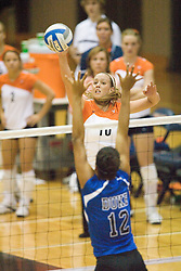 Virginia Cavaliers OH Sarah Kirkwood (10)....The Virginia Cavaliers Volleyball Team fell to the Duke Blue Devils three games to none on November 16, 2006 at Memorial Gymnasium in Charlottesville, VA...