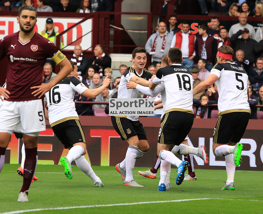 Aberdeen's David Goodwillie celebrates with team mates after heading home the opening goal during the Heart of Midlothian FC  V Aberdeen FC  Scottish Premiership  20th September 2015  ©Edward Linton | SportPix.org.uk