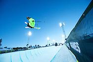 Kevin Rolland during Ski Superpipe Practice at 2014 X Games Aspen at Buttermilk Mountain in Aspen, CO. ©Brett Wilhelm/ESPN