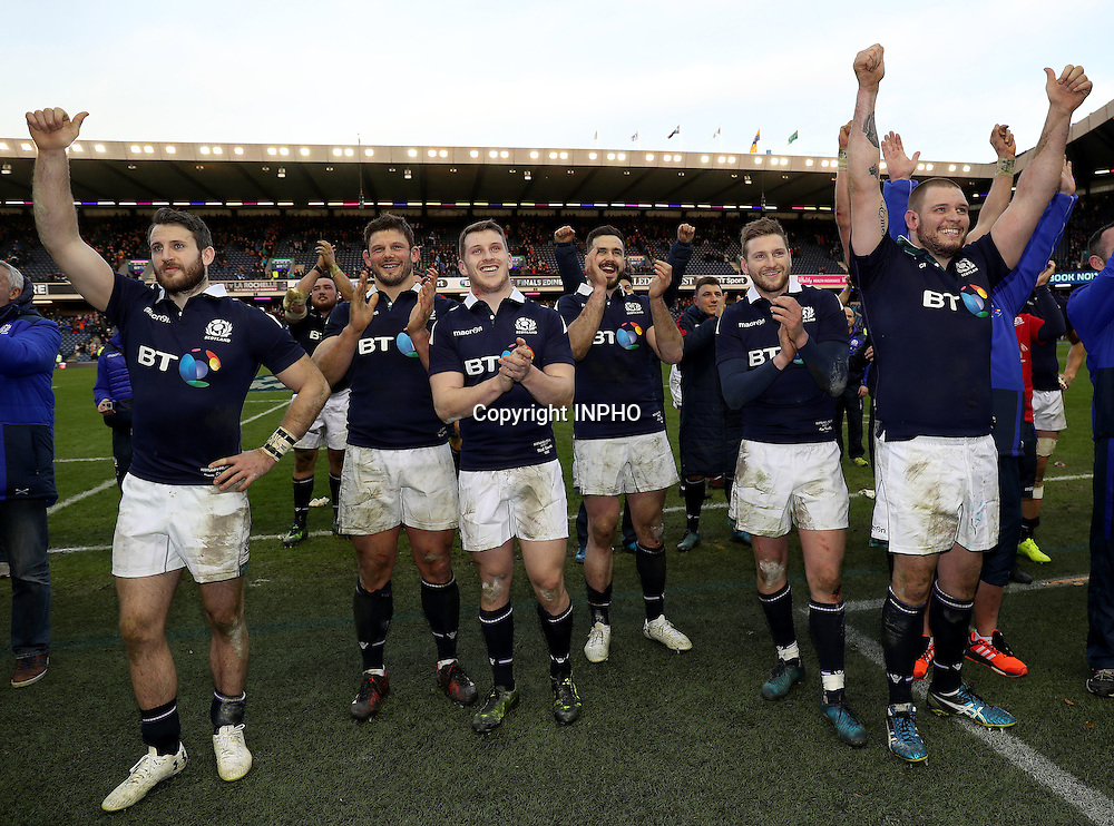 RBS 6 Nations Championship Round 1, BT Murrayfield, Scotland 4/2/2017<br /> Scotland vs Ireland<br /> The Scotland team celebrate winning with fans<br /> Mandatory Credit &copy;INPHO/Dan Sheridan