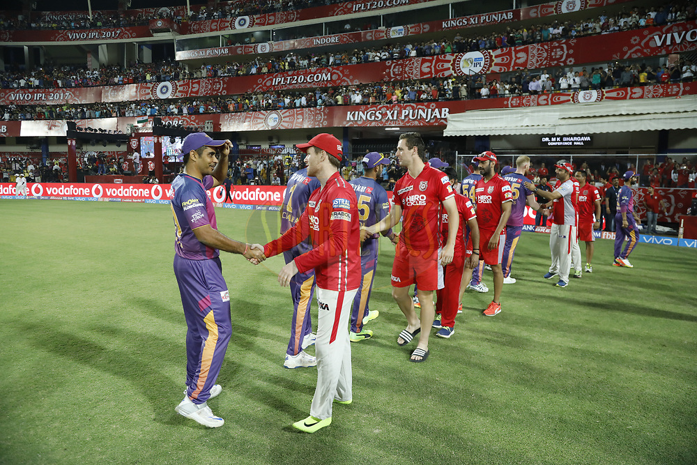 Kings X1 Punjab and the rising Pune Supergiant players after the match 4 of the Vivo 2017 Indian Premier League between the Kings X1 Punjab and the rising Pune Supergiant held at the Holkar Cricket Stadium in Indore, India on the 8th April 2017<br /> <br /> Photo by Arjun Singh - IPL - Sportzpics