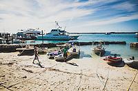The dinghy parking at the Staniel Cay Yaht Club, Exumas, Bahamas.