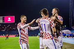 Croatian players celebrate during the football match between National teams of Croatia and Greece in First leg of Playoff Round of European Qualifiers for the FIFA World Cup Russia 2018, on November 9, 2017 in Stadion Maksimir, Zagreb, Croatia. Photo by Ziga Zupan / Sportida