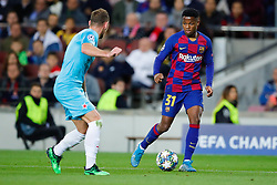November 5, 2019, Barcelona, Catalonia, Spain: November 5, 2019 - Barcelona, Spain - Uefa Champions League Stage Group, FC Barcelona v Slavia Praga: Ansu Fati of FC Barcelona dribbles Coufal of Slavia Prague. (Credit Image: © Eric Alonso/ZUMA Wire)