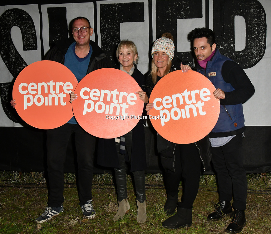 Ian,Lisa Maxwell, Tamara Wall and guest join Sleep Out fundraiser to help homeless young people at Greenwich Peninsula Quay on 15 November 2018, London, UK.