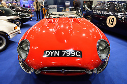 © Licensed to London News Pictures. 18/02/2016. A 1965 Jaguar E-Type Series One 4.2 Roadster car on display at the launch of the London Classic Car Show.  The four day event brings together classic car owner, dealers, collectors, experts and enthusiasts. London, UK. Photo credit: Ray Tang/LNP