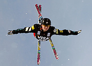 USA's Jaime Myers makes a jump during the qualifying round in the women's World Cup freestyle aerials event at the Deer Valley Resort, Friday, Jan. 15, 2010, in Park City, Utah. (AP Photo/Colin E Braley).