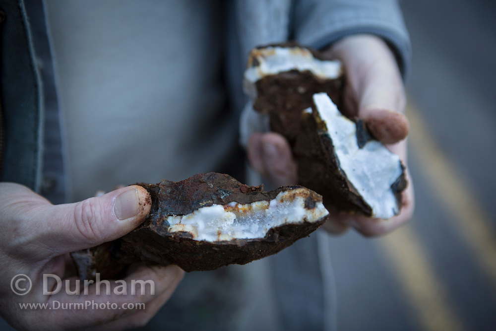 Quartz is revelaed inside a broken rock retrieved from a rock slide on Forest Road 57 in the Mount Hood National Forest, Oregon.