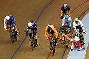 Men Keirin, Joseph Truman (Great Britain) - Norbert Szabo (Romania) - Joachim Eilers (Germany) - Sandor Szalontay (Hungary) crash - Sergii Omelchenko (Azerbaijan) - Sam Ligtlee (Netherlands) - Sebastien Vigier (France), during the Track Cycling European Championships Glasgow 2018, at Sir Chris Hoy Velodrome, in Glasgow, Great Britain, Day 6, on August 7, 2018 - Photo luca Bettini / BettiniPhoto / ProSportsImages / DPPI<br /> - Restriction / Netherlands out, Belgium out, Spain out, Italy out -