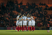 Huddle before kick off in the second half of the Women's International Friendly match between England Ladies and Italy Women at Vale Park, Burslem, England on 7 April 2017. Photo by Mark P Doherty.