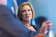 Former CEO and GOP presidential hopeful Carly Fiorina is asked a question by Mike Rogers at the National Security Forum with the Americans for Peace, Prosperity and Security at the Citadel Military College September 22, 2015 in Charleston, South Carolina.