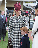 National Hunt Horse Racing - 2020 Cheltenham Festival - Wednesday, Day Two (Ladies Day)<br /> <br /> Zara Phillips speaks to young Archie McCoy, son of 20-time Champion Jockey Sir AP, before the 14.10 RSA Insurance Novices Steeple Chase (Grade 1), at Cheltenham Racecourse.<br /> <br /> COLORSPORT/ANDREW COWIE