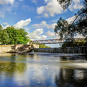 Walking bridge over the speed river at Riverside Park, Guelph Ontario.  Photo by Andrew Goodwin