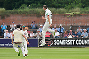 Wicket - Craig Overton of Somerset celebrates taking the wicket of Jake Libby of Nottinghamshire during the Specsavers County Champ Div 1 match between Somerset County Cricket Club and Nottinghamshire County Cricket Club at the Cooper Associates County Ground, Taunton, United Kingdom on 10 June 2018. Picture by Graham Hunt.