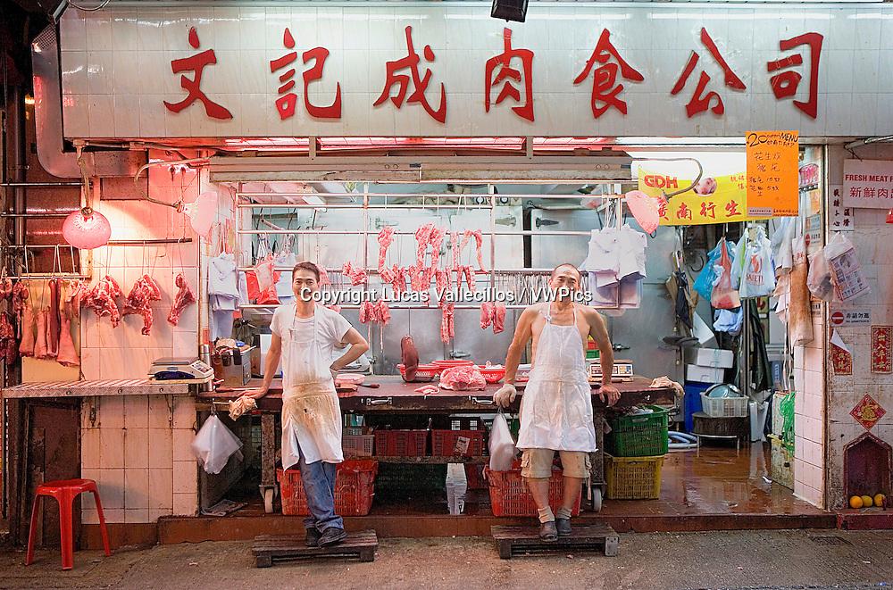 Butcher's shop in Gage Street ,Graham Street Market,Hong Kong, China