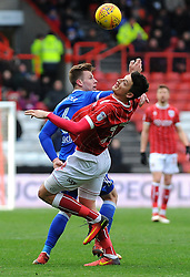 Milan Djuric of Bristol City and Adam Webster of Ipswich Town compete for the highball  - Mandatory by-line: Nizaam Jones/JMP - 17/03/2018 - FOOTBALL - Ashton Gate Stadium- Bristol, England - Bristol City v Ipswich Town - Sky Bet Championship