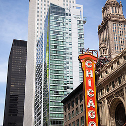 Chicago Theater sign marquee on the Chicago Theater. The Chicago Theater is a historic Chicago Landmark and is available as stock photos and prints.