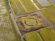 Nederland, Zuid-Holland, Gemeente Leiderdorp, 20-02-2012; Boortunnel onder het Groene Hart van de hogesnelheidslijn (HSL-Zuid), Polder Achthoven met luchtschacht van de tunnel die de drukgolf van de treinen opvangt. .Drilled tunnel of the High Speed Line (HSL) under so-called the Green Heart, with the air shaft of the tunnel that enables the pressure wave of the trains to escape..luchtfoto (toeslag), aerial photo (additional fee required).copyright foto/photo Siebe Swart