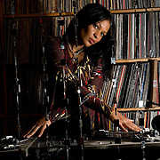 D.J. CHIC, Beverly Bond, is photographed spinning vinyl records at her apartment in Brooklyn, New York on Nov. 25, 2007.