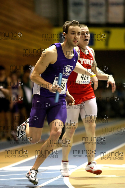 Windsor, Ontario ---14/03/09--- Jason Kerr of  the University of Western Ontario competes in the Men's 4x400m Relay at the CIS track and field championships in Windsor, Ontario, March 14, 2009..Sean Burges Mundo Sport Images