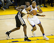 Golden State Warriors forward David West (3) makes a move in the post against the San Antonio Spurs at Oracle Arena in Oakland, Calif., on October 25, 2016. (Stan Olszewski/Special to S.F. Examiner)
