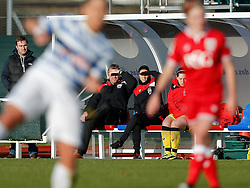 Bristol City Women Manager Willie Kirk and coach Lauren Smith look on from the dugout - Mandatory byline: Rogan Thomson/JMP - 14/02/2016 - FOOTBALL - Stoke Gifford Stadium - Bristol, England - Bristol City Women v Queens Park Rangers Ladies - SSE Women's FA Cup Third Round Proper.