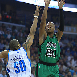 11 February 2009:  Boston Celtics guard Ray Allen (20) shoots over New Orleans Hornets guard Antonio Daniels (50) during a NBA game between the Boston Celtics and the New Orleans Hornets at the New Orleans Arena in New Orleans, LA.