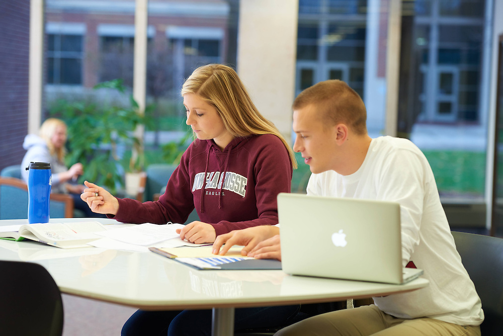 UWL UW-L UW-La Crosse University of Wisconsin-La Crosse; Activity; Studying; Buildings; Murphy Library; People; Student Students; Time/Weather; day; Winter; December; Man Men; Woman Women; Objects; Computer; Books; notepad; Type of Photography; Group; Lifestyle