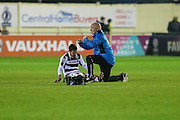Physio Ian Weston signals that Forest Green Rovers Fabien Robert(26) takes no further part in the match  during the Vanarama National League match between Solihull Moors and Forest Green Rovers at the Automated Technology Group Stadium, Solihull, United Kingdom on 25 October 2016. Photo by Shane Healey.