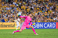 March 28 2017: Socceroos Mathew RYAN (1) throws the ball to his teammate at the 2018 FIFA World Cup Qualification match, between The Socceroos and UAE played at Allianz Stadium in Sydney.