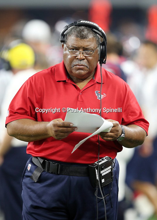 Houston Texans defensive coordinator Romeo Crennel looks on from the sideline during the 2015 NFL preseason football game against the Dallas Cowboys on Thursday, Sept. 3, 2015 in Arlington, Texas. The Cowboys won the game 21-14. (©Paul Anthony Spinelli)
