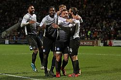 Jack Marriott of Peterborough United celebrates his second goal of the game with team-mates - Mandatory by-line: Joe Dent/JMP - 26/12/2017 - FOOTBALL - Northern Commercials Stadium - Bradford, England - Bradford City v Peterborough United - Sky Bet League One