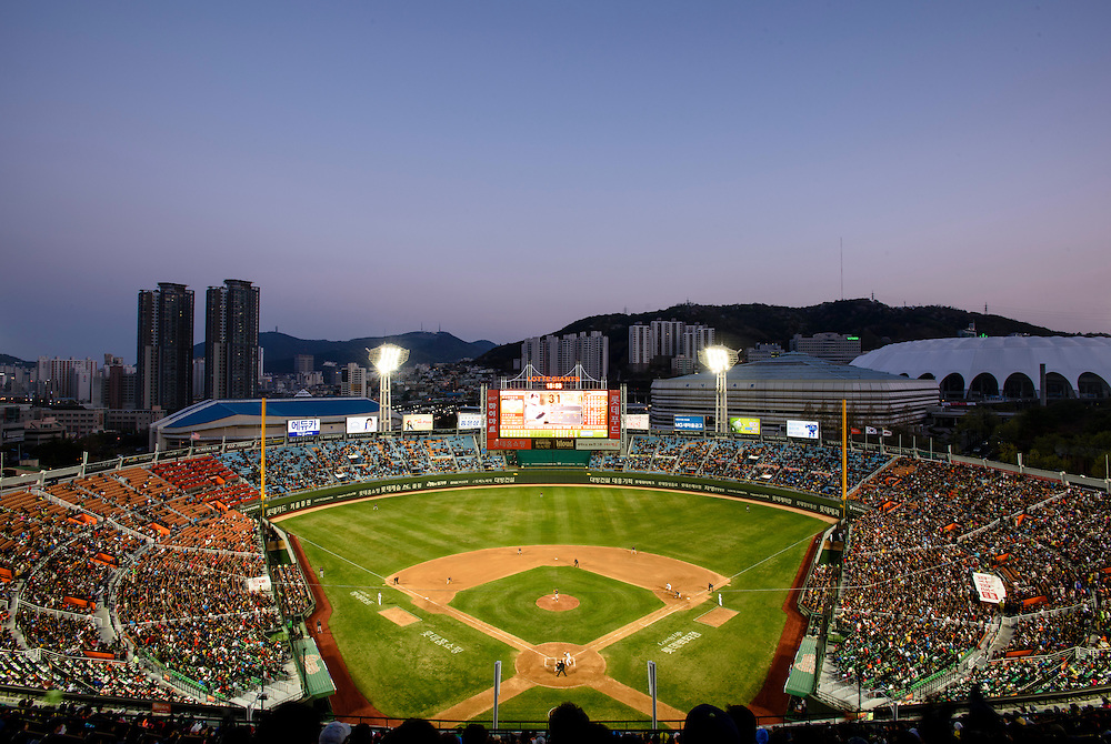 A view from the upper deck of Sajik Stadium, home of the Lotte Giants baseball team, during a game against the Hanwha Eagles in Busan, South Korea, April 11, 2015.