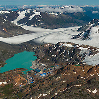 view east across Brucejack minesite and Brucejack Lake. Access road goes right in mid-ground down Knipple Glacier.  Transboundary Mines, 2017