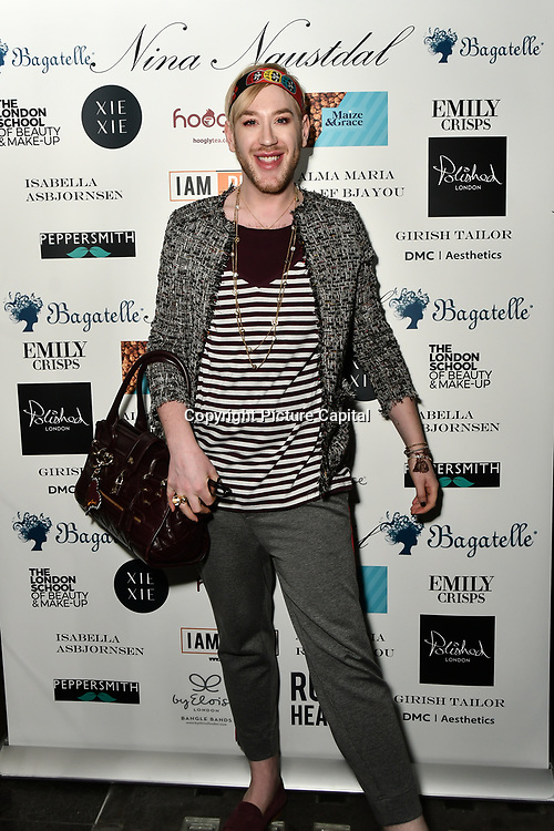 Lewis-Duncan weedon Arrivers at Nina Naustdal catwalk show SS19/20 collection by The London School of Beauty & Make-up at Bagatelle on 26 Feb 2019, London, UK.