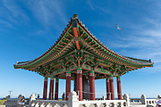 San Pedro CA, Korean Bell of Friendship, bronze bell, stone pavilion, Angel's Gate Park, Los Angeles, Ca Architectural, Southern California, USA,