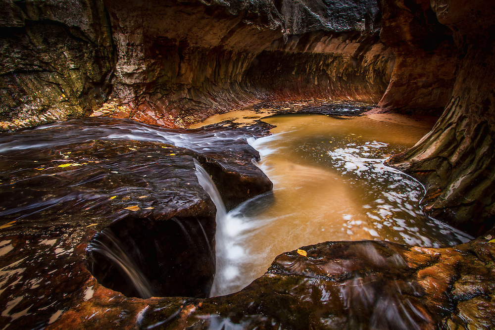 The Subway in Zion National Park is located in a remote area in the Eastern section of the park.  The strenuous hike into this location rewards the Utah landscape photographer with a playground of scenic opportunities not found anywhere else.